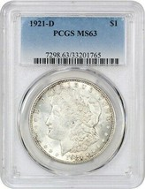 1921-D $1 PCGS MS63 - Morgan Silver Dollar - $82.45