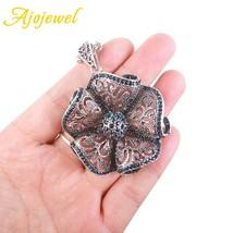 Ajojewel Vintage Flower Drop Necklaces & Pendants For Women Blue Crystal... - $10.16