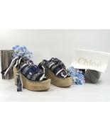 Chloe Bandana Print Ankle Tie Espadrille Wedge Heels Sandals Size 37 7 NIB - $291.56