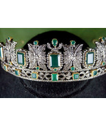 Handmade Victorian  Look 12.82Ct Rose Cut Diamond 925 Silver Tiara Crown... - $910.00