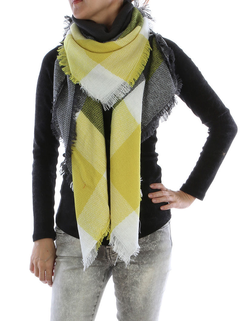 Trendy and Gorgeous! Soft Plaid Blanket Fashion Scarf Wrap Shawl Yellow Black