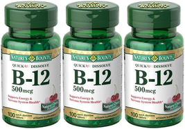 Nature's Bounty B-12 Quick Dissolve Tablets 500 Mcg, 300 Tablets (3 X 100 Count  - $28.19