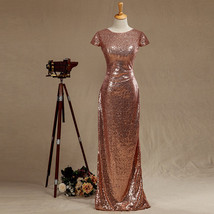 Long Cap Sleeve Open Back Rose Gold Sequin Bridesmaid Formal Gown Dresses - $113.00