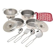 Cookware Pretend Play 11 piece Stainless Steel ... - $17.00