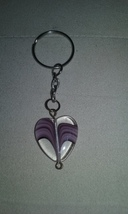 Handmade Clear Purple Stripe Glass Heart Charm ... - $4.89