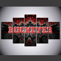 5 Panel HD Printed Buckeyes Football Picture Hoom Decor Wall Art Painting - $49.99+