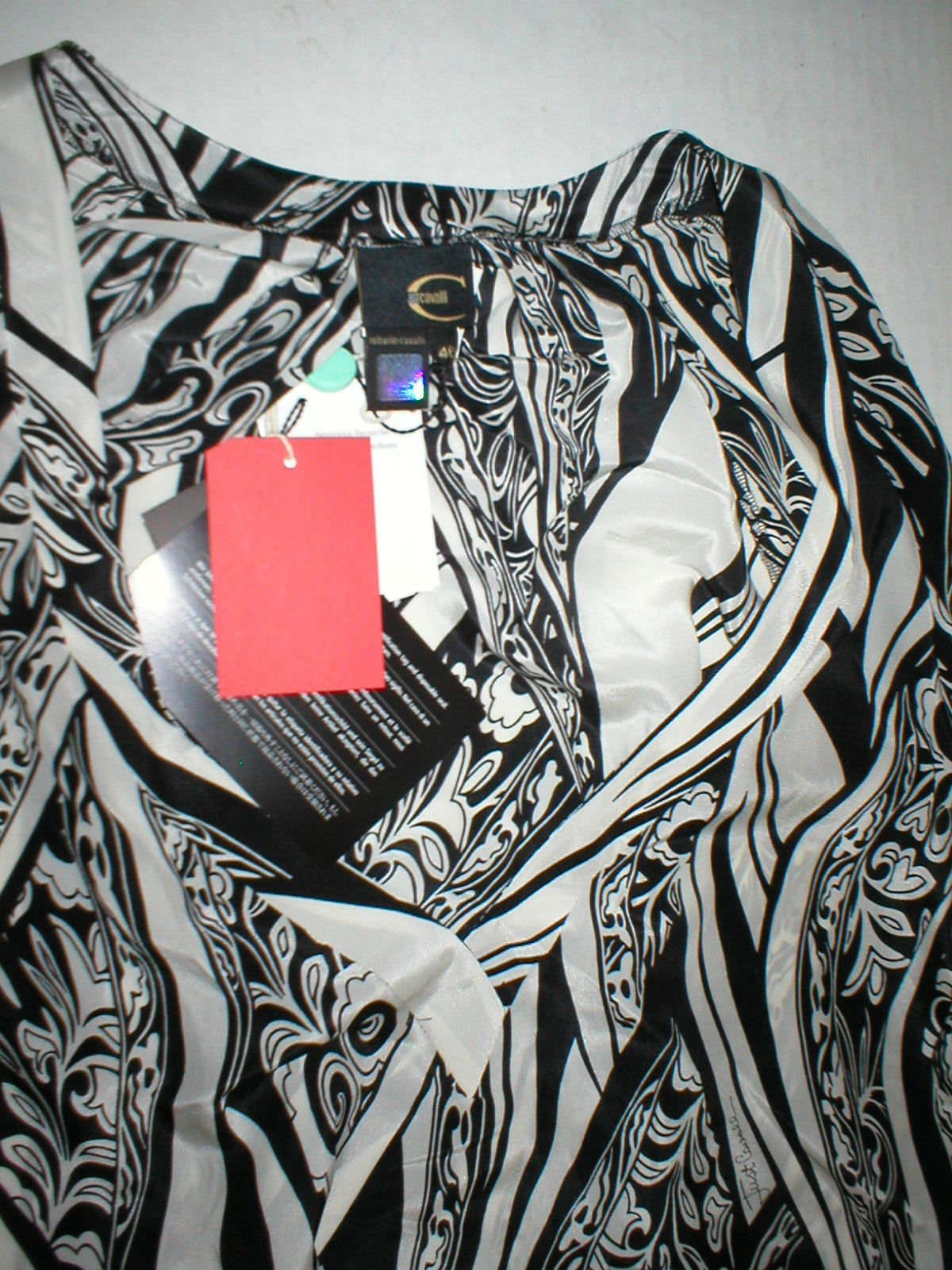 New NWT Womens 10 Italy Designer Silk Blouse Just Cavalli 46 Black White Bell