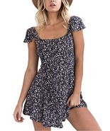 Apparel Women's Boho Floral Print Backless Short Beach Dress Sundress - £31.53 GBP
