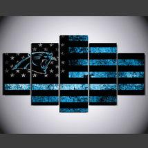 5 Panel HD Printed Carolina Panthers Football Flag Picture Wall Art Pain... - $49.99+