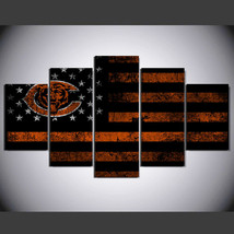 5 Panel HD Printed Chicago Bears Football Flag Picture Wall Art Painting - $49.99+