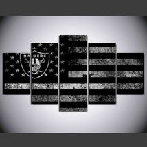 5 Panel HD Printed Oakland Raiders Football Flag Picture Wall Art Painting - $49.99+