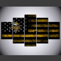 5 Panel HD Printed Minnesota Vikings Football Flag Picture Wall Art Pain... - $49.99+