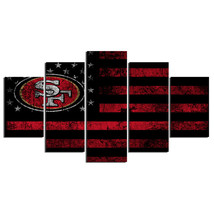 5 Panel HD Printed San Francisco 49ers Football Flag Picture Wall Painting - $49.99+