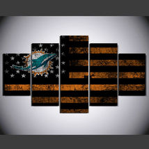 5 Panel HD Printed Miami Dolphins Football Flag Picture Wall Art Painting - $49.99+