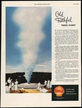 Vintage magazine ad SHELL gas oil from 1949 Old Faithful pictured Rolf Klep art - $12.99