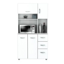 Storage Cabinets For The Kitchen White Wood Pan... - $386.99