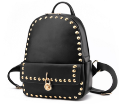 Rivets Leather Women Backpacks Fashion New Students Medium Backpacks M169-1 - $38.99