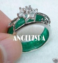 JADE GREEN SILVER RING SIZE 7 LOVE SITUATIONS A... - $200.00