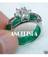 SPELLBOUND LOVE AND FAITHFUL RELATIONSHIPS JADE GREEN SILVER RING SIZE 7  - $22.49