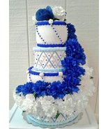 Royal Blue White Blue Themed Baby Shower 4 Tier Wedding Style Diaper Cak... - $65.00