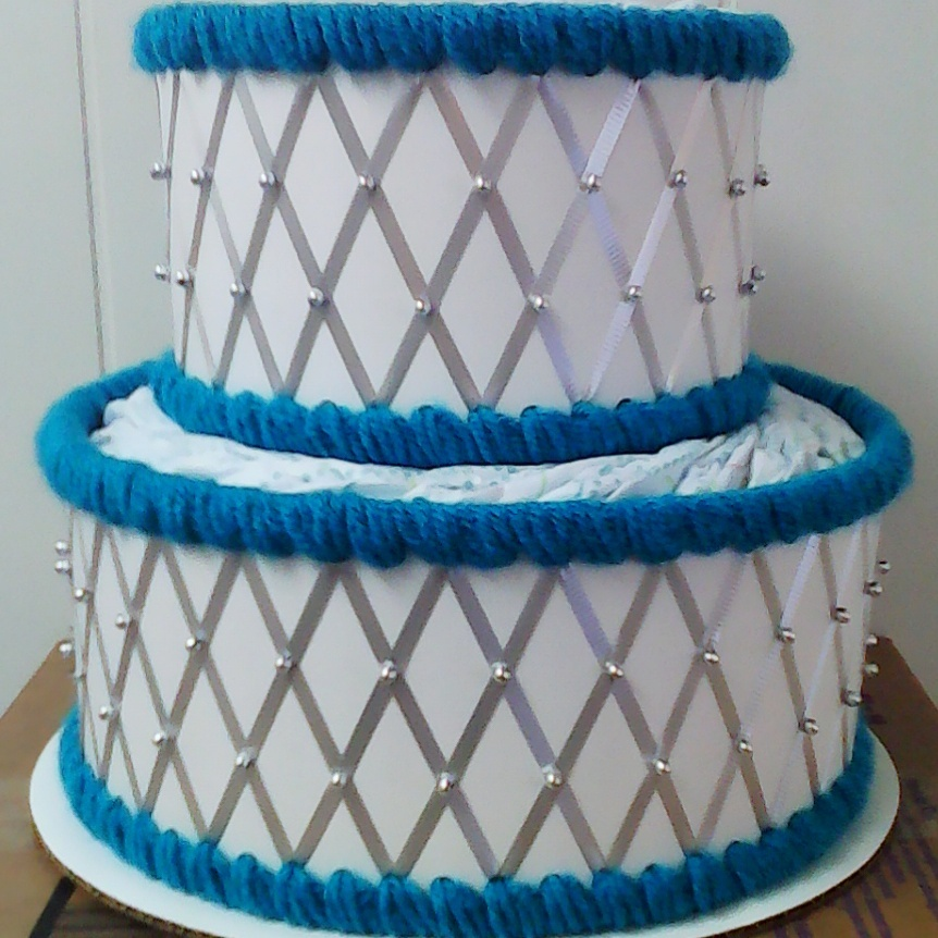Peacock Blue and Silver Themed Baby Shower 2 Tier Beaded Wedding Diaper Cake