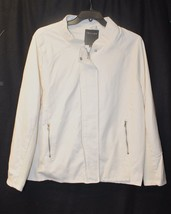 NEW WOMENS PLUS SIZE 3X WHITE FAUX LEATHER LONG SLEEVE MOTORCYCLE MOTO J... - $31.92