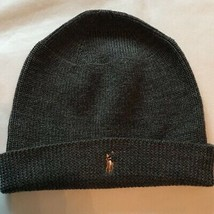Polo Ralph Lauren Mens Beanie Hat Dark Gray Embroidered Logo Knit 100% W... - $13.09