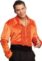 MEN'S VELVET RUFFLED FRONT L.S. SHIRT IN ORANGE MEDIUM - $30.00