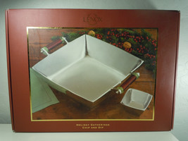 Lenox Holiday Gatherings Chip and Dip Set Stainless New In Box - $91.07