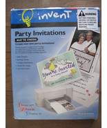 Invent It! 50 Party Invitations Print Your Own 52 Envelopes Matt Finish New - $15.95