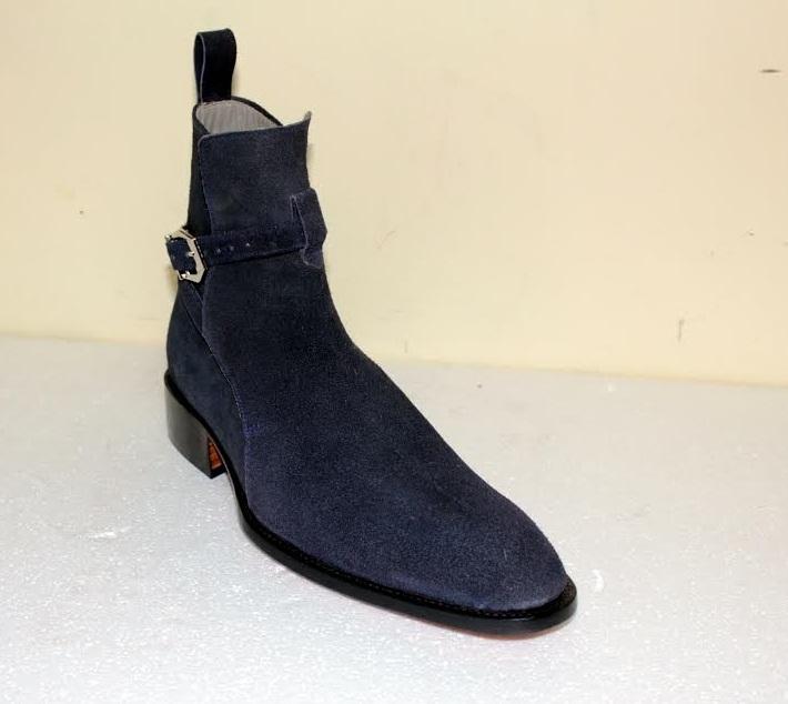 Handmade Men's Navy blue Suede jodhpurs boot, Mens Nevy blue ankle suede boot