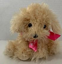 Dan Dee puppy dog cream beige tan plush Valentine's day pink heart bow r... - $12.86