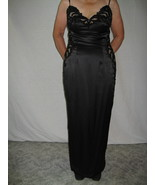 Full-Length 6P 100% Silk Black Spaghetti Strap Ball/Cocktail Gown by S. ... - $325.00