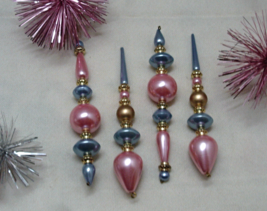Vintage Pink And Blue Christmas Ornaments // Beaded Icicle Garland Ornaments - $15.00