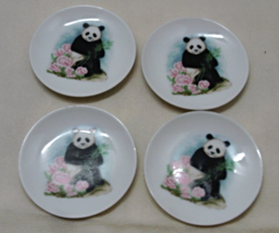 Vintage Panda Bear With Pink Roses Miniature Plates // Trinket/RING Dishes - $10.26
