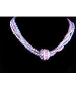 designer blue crystal glass necklace - silver faux topaz 3 strand neckla... - $115.00