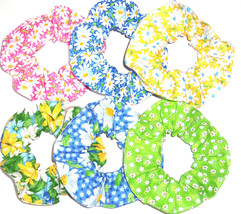 Hair Scrunchie Daisies Daisy Scrunchies by Sherry Ponytail Holder Ties New - $6.92+