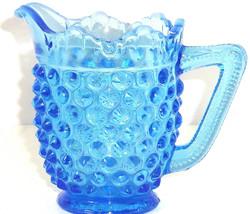Fenton Blue Hobnail Cream Pitcher Art Glass Colbalt Creamer Vintage  - $24.97