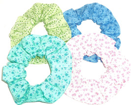 Hair Scrunchie Green Leaves Blue Pink Mint  Ponytail Holder Scrunchies by Sherry - $6.92+