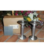 Longaberger Candlestick Holders Pedestals Set 2 Wedding New Quality Pewter - $19.75