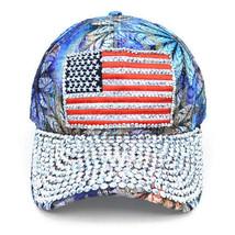 AMERICAN FLAG Bling Studs Blue Flower Adjustable Baseball Hat Cap - $14.84