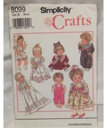 Simplicity Baby Doll Wardrobe Pattern Size A - Small, Medium or Large #8099 - $9.75