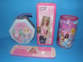 "Lot Of 4 Collectible ""Barbie"" TINS-LUNCH Box -CANDY -LOLLIPOPS And Pencil Tins - $14.95"