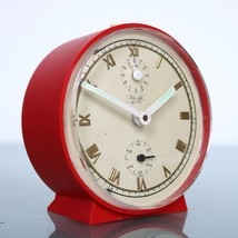 KIENZLE German Alarm CLOCK Mantel TOP! Red/White Mid Century Vintage Spa... - $65.00