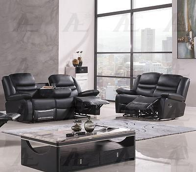 American Eagle AE-D823 Modern Black Faux Leather Sofa Set in 2pcs