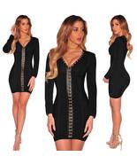 Black V-Neck Full Long Sleeve Dress - $28.95