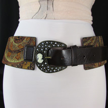 New Women Brown Faux Leather Wide Western Fashion Belt Mini Antique Cameo M L XL - $13.99