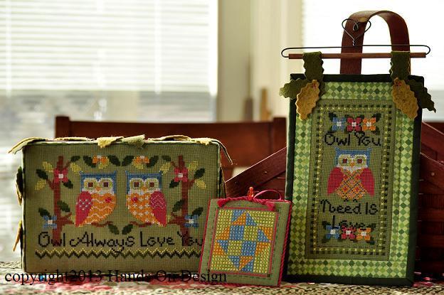 Owl Love cross stitch chart buttons Hands On Design