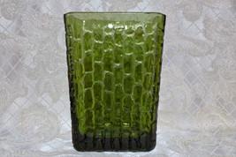 Tall Green Heavy Glass Retro Vase Very Unique Design - $20.00
