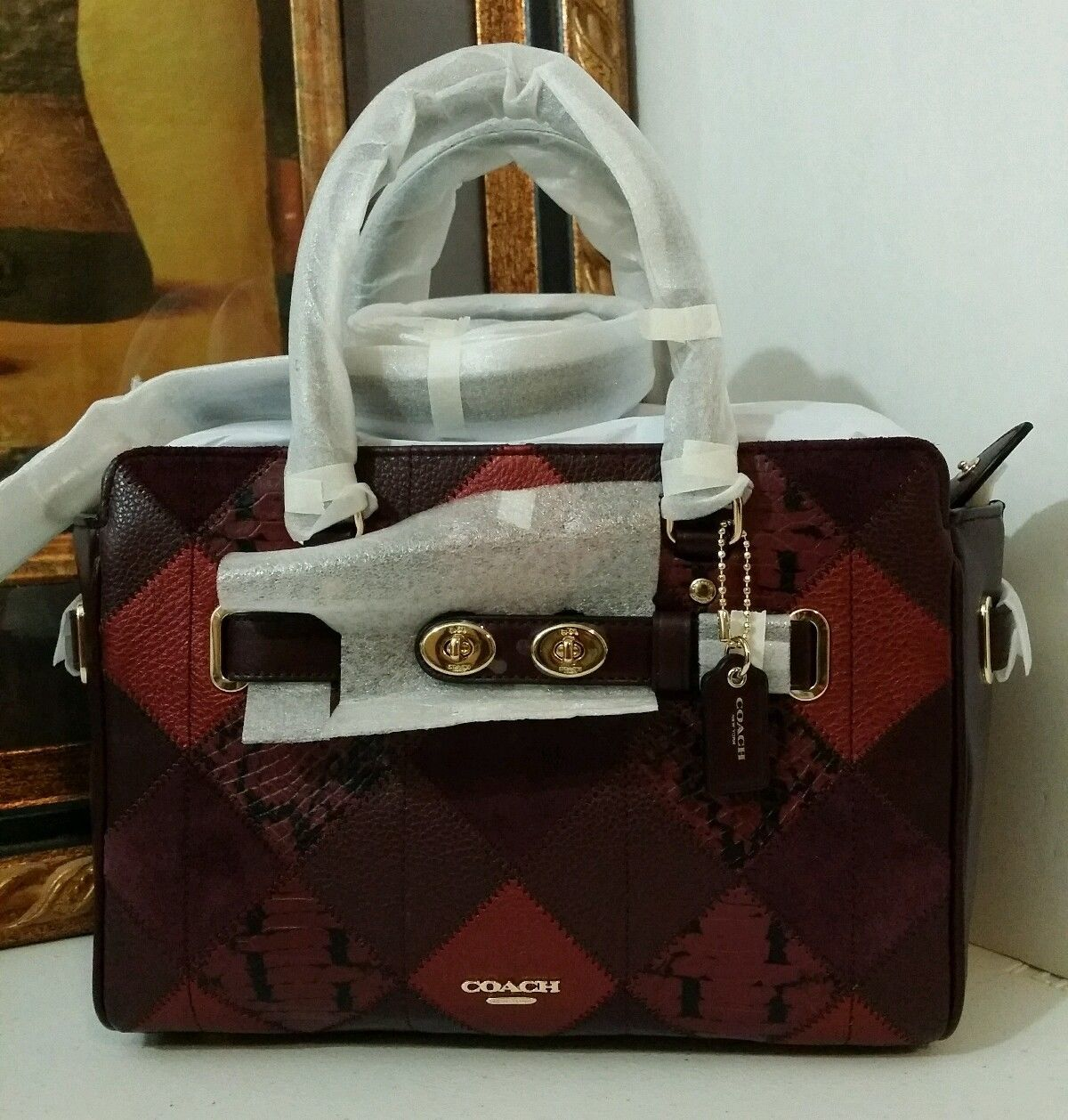 NWT COACH BLAKE CARRYALL 25 IN METALLIC PATCHWORK LEATHER F55666 METALLIC CHERRY